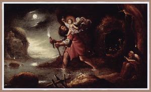 De H. Christoforus draagt Christus op zijn schouders over de rivier