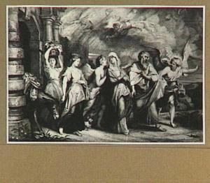 De engel maant  Lot en zijn familie tot spoed tijdens hun vlucht uit Sodom (Genesis 19:15-29)
