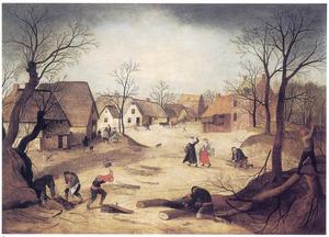 Winterlandschap  met houtsprokkelaars in een dorp