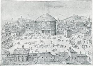 Zicht op het Pantheon (Santa Maria Rotonda)
