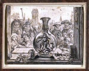 Kikker in een fles met bloedzuigers, met toeschouwers op de achtergrond