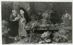 Marktstuk, een kraam groente en fruit, een marktkoopvrouw die haar vruchten aanprijst bij een klant