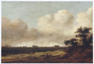 Landschap met gezicht op Leiden, geheel links de zojuist voltooide Marekerk
