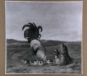 Haan, kip en kuikens in een landschap