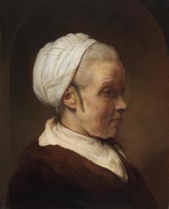Borststuk van een oudere vrouw met een wit kapje