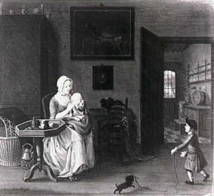 Een vrouw met twee kinderen in een interieur