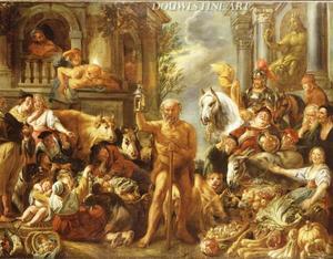 Diogenes zoekt naar een eerlijk man op de markt te Athene