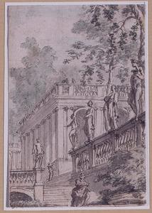Parklandschap met gebouw en beelden op balustrade
