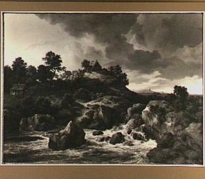 Heuvellandschap met waterval