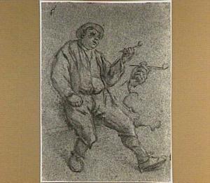 ZIttende boer met pijp in de linkerhand, en detailstudie van zijn hand