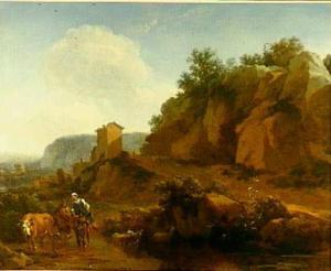 Zuidelijk landschap met boeren en vee bij een waterplaats
