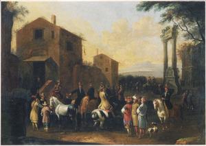 Zuidelijk landschap met ruiters en Oosterlingen bij een herberg