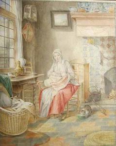 Interieur met zogende vrouw