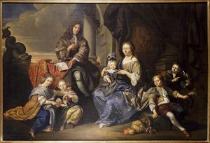 Portret van Dirck Toorenvliet (?-1725), Elisabeth (van) Oudshoorn (1655-1724) en  hun kinderen