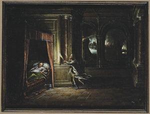 Interieur met Aeneas die Anchises redt uit het brandende Troje (keerzijde: Interieur met een minnekozend paar op een hemelbed)