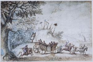 Door vier paarden getrokken wagen met figuren, een galgenveld passerend
