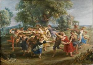 Dansende boeren in een landschap