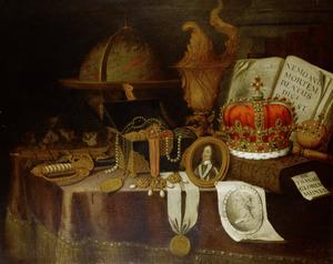 Vanitasstilleven met portretminiatuur van koning Karel I Stuart (1600-1649)
