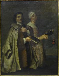 Portret van tsaar Peter de Grote (1672-1725) met een onbekende vrouw in Noord-Hollandse streekdracht