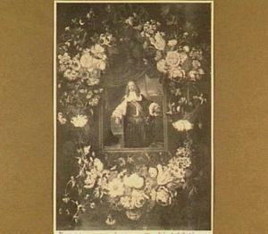 Bloemenkrans rond een portret van een man