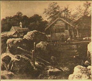 Berglandschap met waterval en blokhut