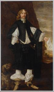 Portret van een man met een brief in de linkerhand en aan zijn voeten zijn hond