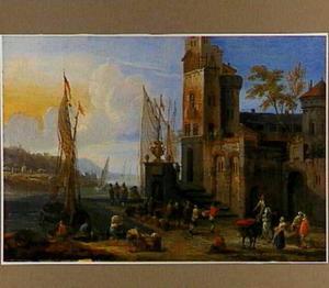 Zuidelijke haven met kooplieden en vissers op de kade