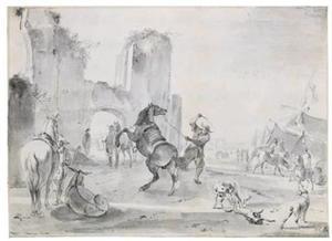Soldaten met paarden bij een legerkamp en ruïne