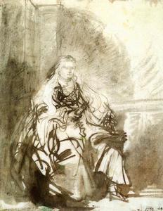 """Studie voor de figuur van Esther voor """"De Joodse bruid"""""""