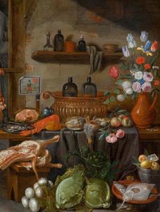 Keukenstilleven met groenten en een boeket bloemen