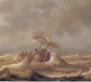 Christus slaapt tijdens de storm op het meer van Galilea