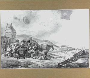 Figuren in de duinen bij de vuurtoren van Egmond aan Zee