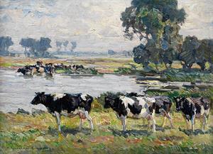 Koeien in een uiterwaardenlandschap aan de Hollandse IJssel (?)