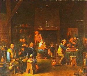 Kaartspelende en rokende boeren in een herberg
