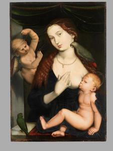 Maria met kind en papegaaien