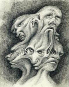 Vijf karikaturale koppen