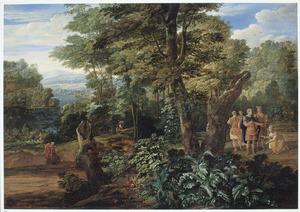 Boslandschap met Ninus die zijn kroon aan Semiramis aanbiedt