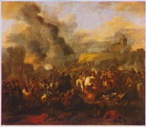 Ruitergevecht in landschap met kasteel