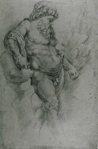 Studie van Silenus leunend tegen een boom