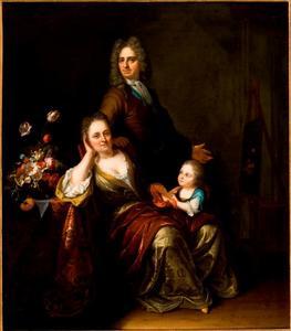 Zelfportret van Juriaen Pool II (1666-1745 ) met Rachel Ruysch (1664-1750) en hun zoon Jan Willem Pool