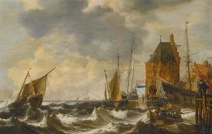 Nederlandse schepen en een roeiboot op woelig water bij een kleine havenstad