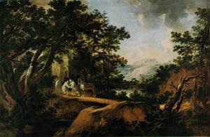 Landschap met de Hl. Bernardus aan de kloosterpoort en monniken