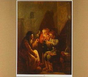 Haspelende oude vrouw en muntenwegende oude man bij kaarslicht