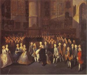 De doop van de latere stadhouder Willem V, prins van Oranje-Nasseu (1748-1806) in de Grote Kerk te Den Haag op 11 april 1748