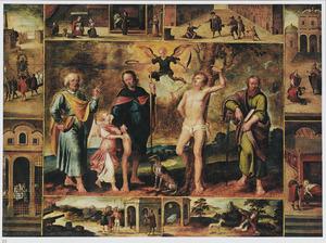 Landschap met de HH. Petrus, Paulus, Rochus en Sebastiaan in een omlijsting van scènes uit de legende van de H. Rochus