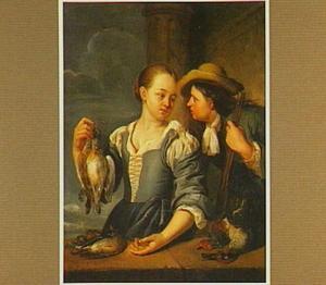 Jager en jonge vrouw die twee duiven ophoudt