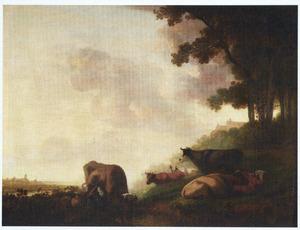 Landschap met rustende koeien