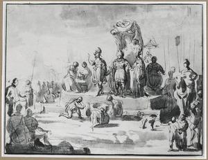 Salomo ontvangt geschenken van de koningin van Seba (1 Koningen 10:2)