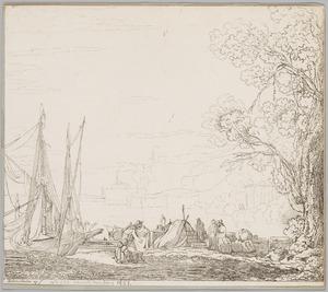 Zuidelijk kustgezicht met het laden en lossen van schepen bij een aanlegplaats, geheel rechts de Vestatempel van Tivoli