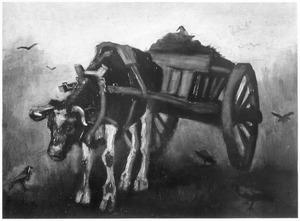 Ossewagen voortgetrokken door een zwart-gevlekte os